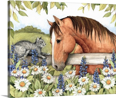 Horse and Cat in Bluebonnets