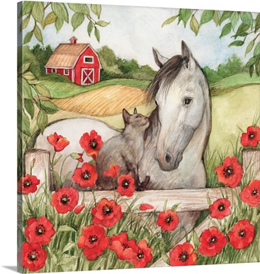 Horse and Cat in Poppies