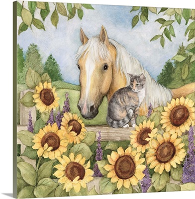 Horse and Cat in Sunflowers