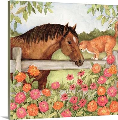 Horse and Cat in Zinnias