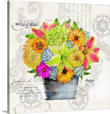 Mixed Bouquet in Garden Bucket