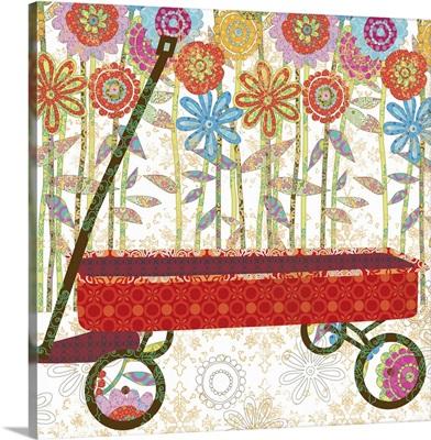 Picking Daisies - Red Wagon