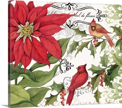 Poinsettia with Cardinals