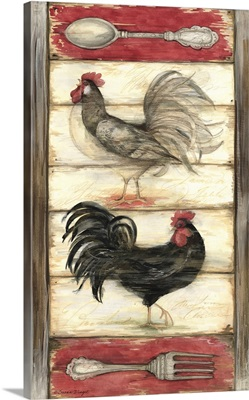 Rooster on Wood Panel