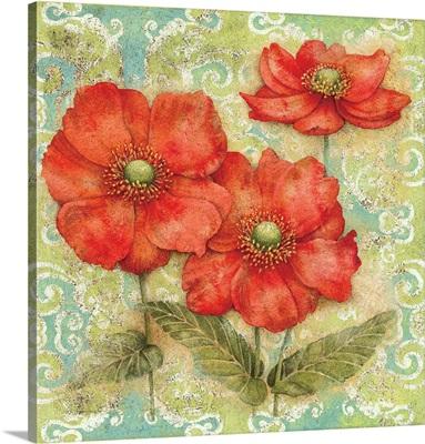 Serene Garden - Red Floral