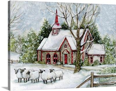 Snowy Church With Sheep