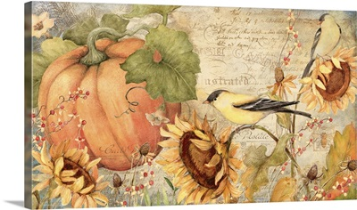 Sunflowers with Birds and Pumpkins