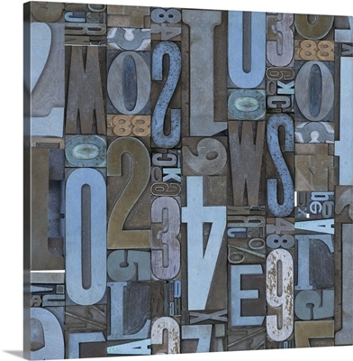 Typography Stamp Blue