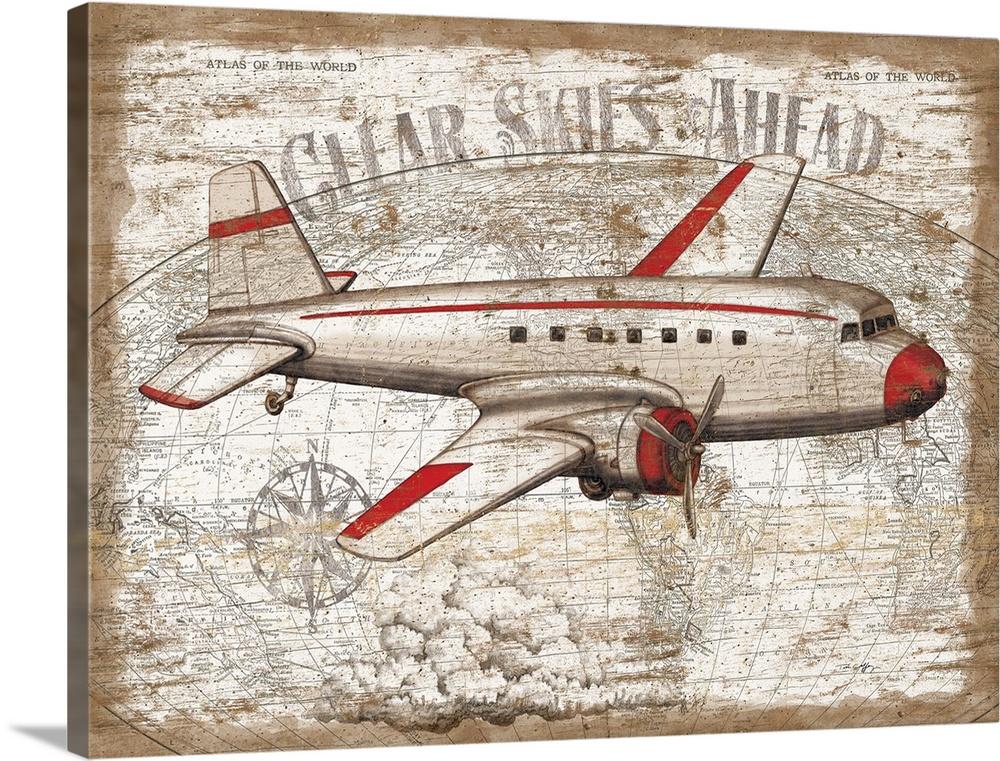 Vintage Travel Airplane Wall Art Canvas Prints Framed Prints Wall Peels Great Big Canvas