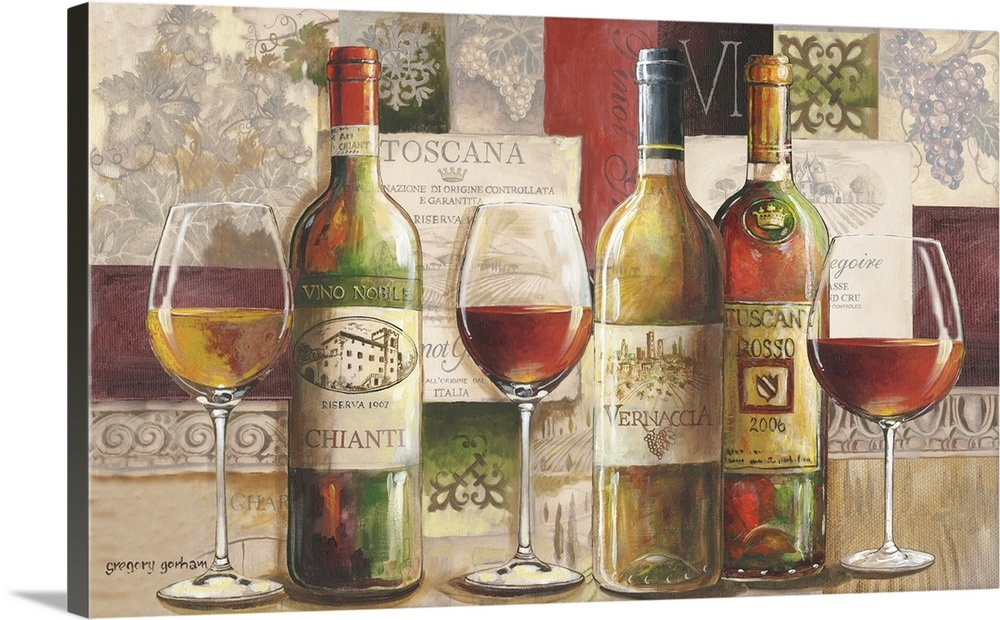 4 Panel printed Canvas Painting Wine Grape Glass Prints
