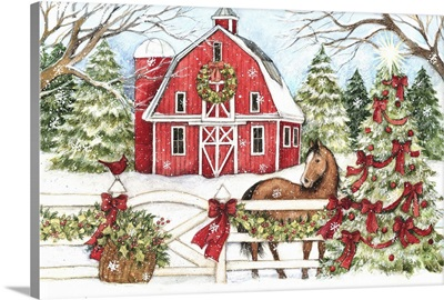 Winter Barn with Horse