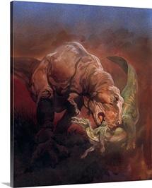 A Tyrannosaurus devours an Anatosaurus