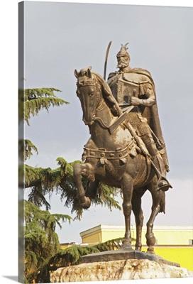 15th century warrior stone socle, Tirana Main Central Square, Albania, Balkan