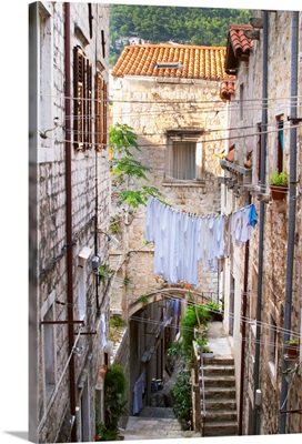 A Narrow Street Leading Down With Steep Steps, Old City. Dalmatian Coast, Croatia