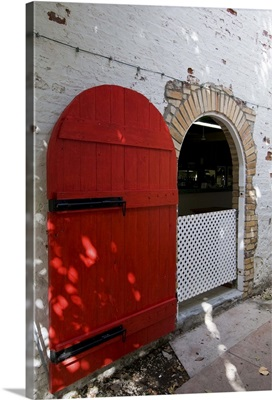A red door in St. John's, Caribbean