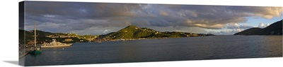 A view from St. Thomas out over the bay on a warm evening, US Virgin Islands