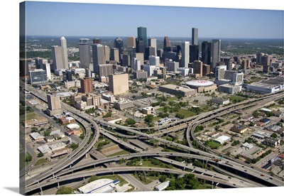 Aerial view of Interstate 45 and U.S. Highway 59 in the city of Houston, Texas