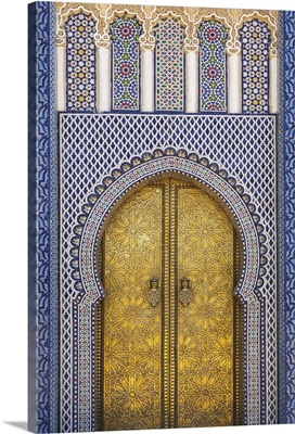 Africa, Morocco, Fes. Detail of the King's Palace ornate doors