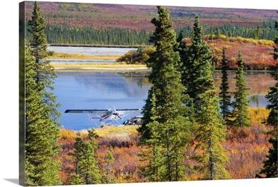 Alaska, float plane on a lake along the Denali Highway