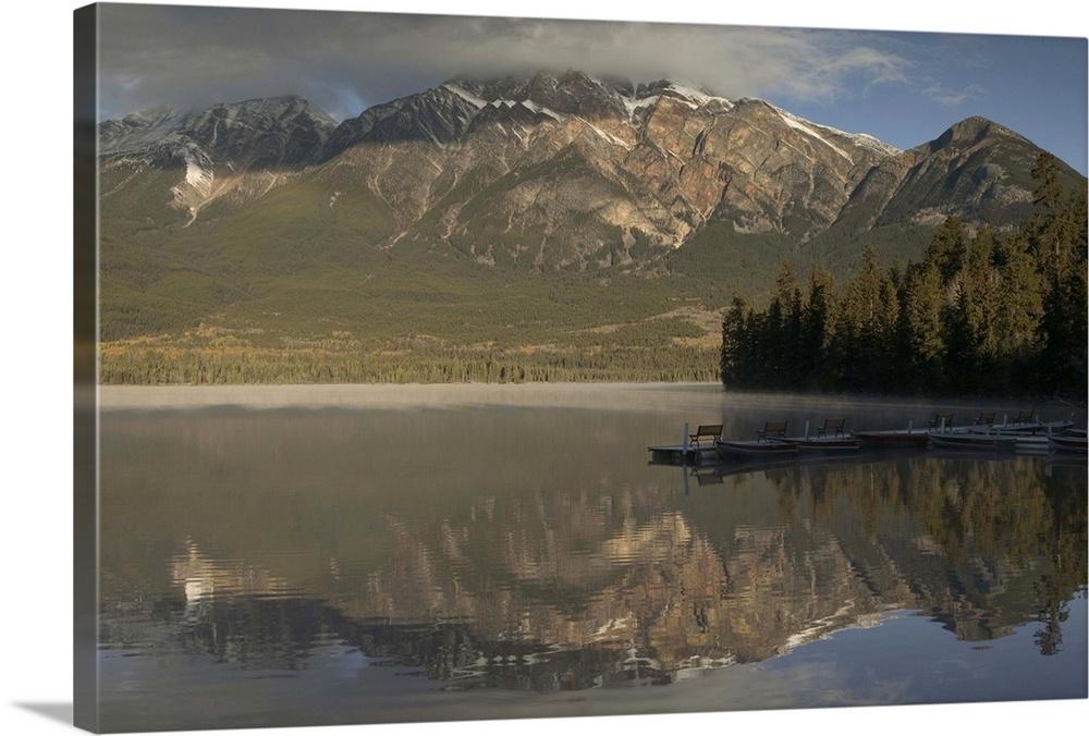Alberta Jasper National Park Dawn Light On Pyramid Mountain And Pyramid Lake Wall Art Canvas Prints Framed Prints Wall Peels Great Big Canvas