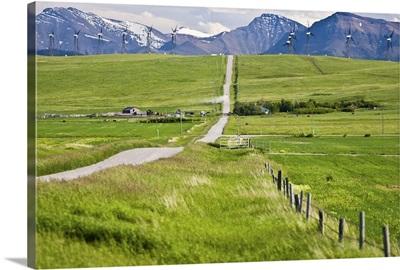 Alberta, Rocky Mountains, wind turbines and wind farm