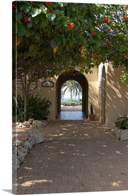 Aruba, archway to pool area at Tierra del Sol Golf Club and Spa