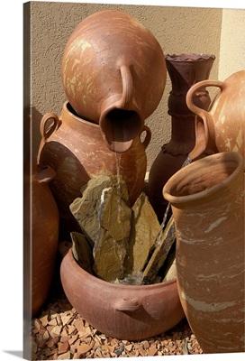 Aruba, stoneware pots at entrance to Tierra del Sol
