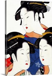 Asia, Japan. Japanese silk art. Female figures on silk
