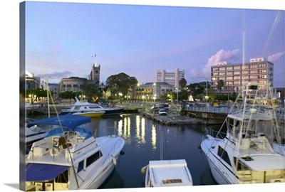 Barbados, Bridgetown, Evening View of The Careenage