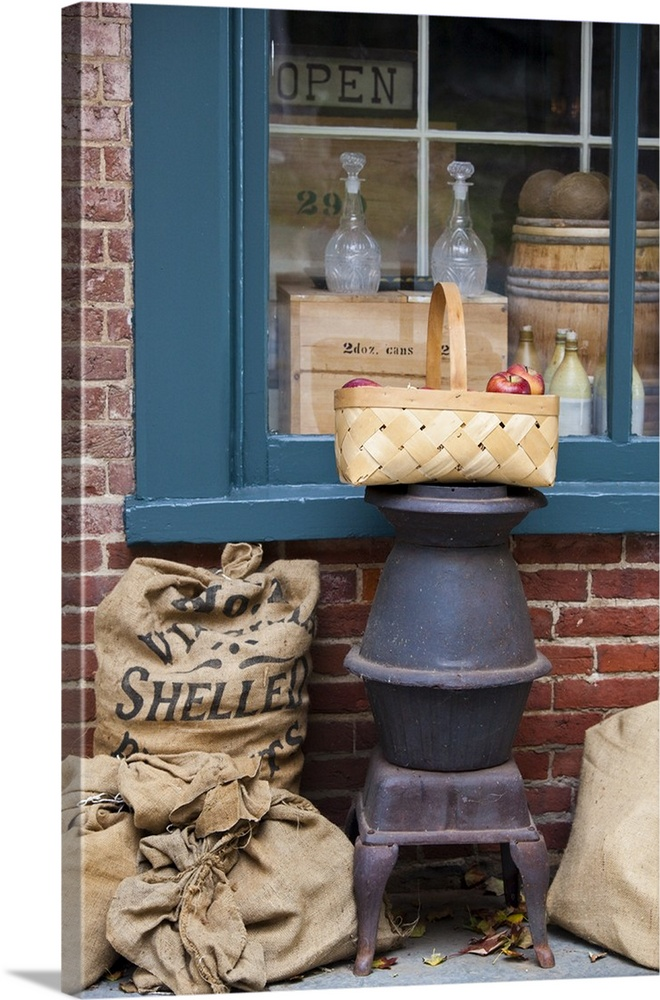 Nice Basket Of Apples Outside Of Dry Goods Store, Harpers Ferry, West Virginia.  Canvas