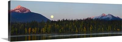 British Columbia, Bowron Lakes Provincial Park, autumn color on Unna Lake