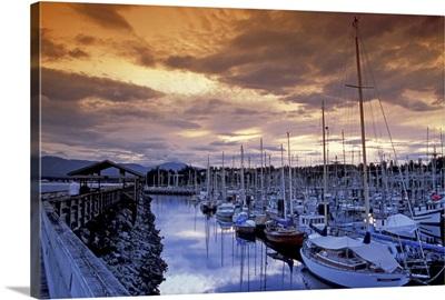British Columbia, Comox Harbor, boats, sunset