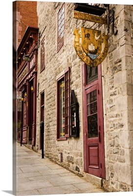 Buildings and restuarant in old Montreal, Quebec
