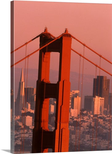 California, San Francisco. Golden Gate Bridge and city skyline Wall ...
