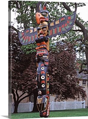 Canada, British Columbia, Vancouver Island, A Kwakiutl totem pole