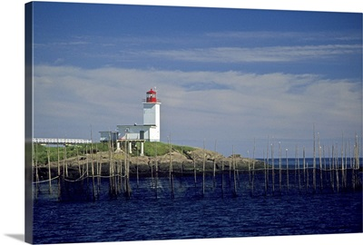 Canada, New Brunswick, Bliss Harbor, Bliss Point Light with fish weirs