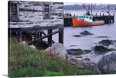 Canada, Nova Scotia, Hunts Point. Lobster boats at dock in harbor