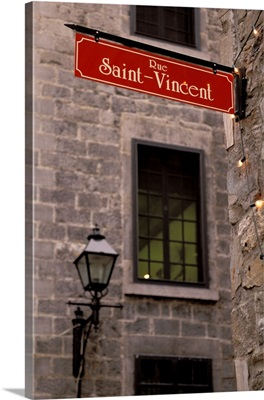 Canada, Quebec, Montreal, Old Montreal, street sign detail