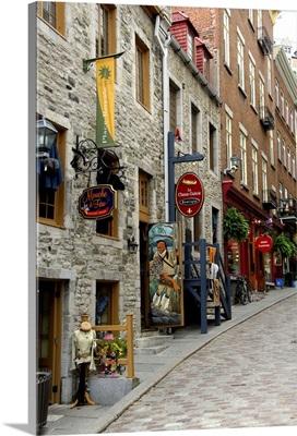 Canada, Quebec, Quebec City. Old Quebec, narrow shop lined streets