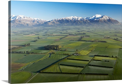 Canterbury Plains and Southern Alps, near Methven, South Island, New Zealand