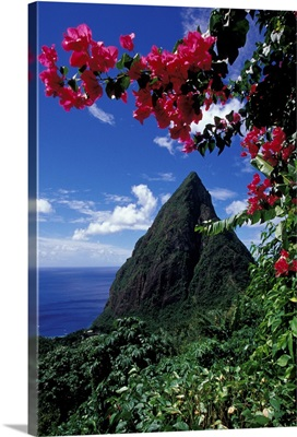 Caribbean, British West Indies, St. Lucia, View of the Pitons from Ladera Resort