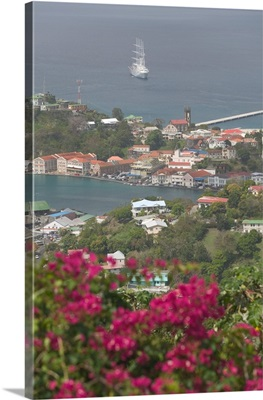 Caribbean, Grenada, St. George's Harbor, Aerial from Fort Frederick