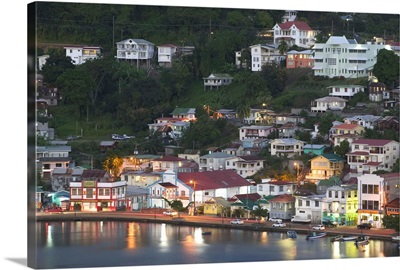 Caribbean, Grenada, St. George's Harbor, The Carenage, Evening View from Fort George
