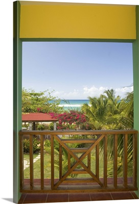 Caribbean, Puerto Rico, Vieques, beach and palm trees, viewed from porch