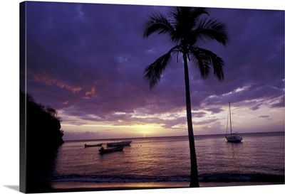 Caribbean, St. Lucia, Soufriere, Anse Chastenet Beach at sunset