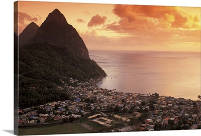 Caribbean, St. Lucia, Soufriere, Sunset view of the Pitons and Soufriere