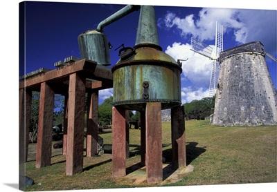 Caribbean, US Virgin Islands, St. Croix, Estate Whim Plantation Museum, windmill