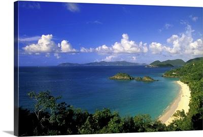 Caribbean, US Virgin Islands, St. John, Trunk Bay. Aerial view