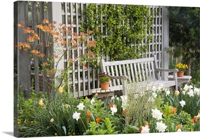 Chair in the patio area of a flower garden