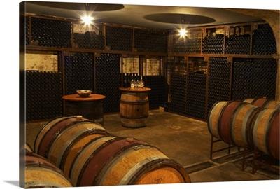 Corner in wine cellar where older vintages are stored, France